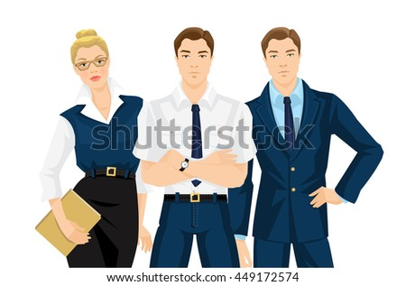 Group of professional people. Business man and woman in formal clothes isolated on white background. Vector illustration