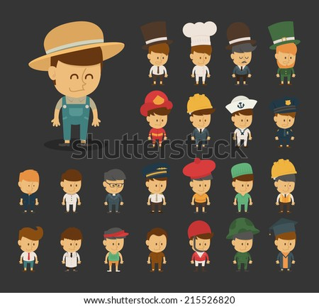 Group of professions cartoon characters , eps10 vector format - stock vector