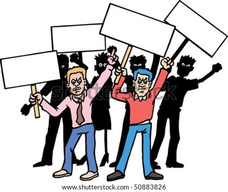 Group of Protesters - stock vector