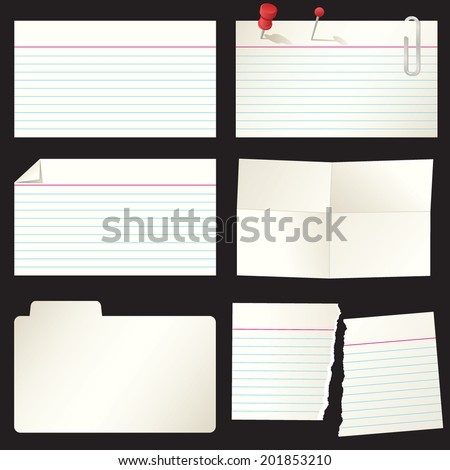 Group of Recipe and Index Cards - stock vector