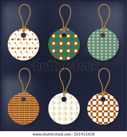 Group of retro, isolated tags on blue background