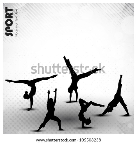 Group of rhythmic gymnastic girls on grungy abstract background in grey color. EPS10. - stock vector