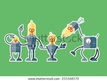 Group of robots approaching robotic animal - stock vector