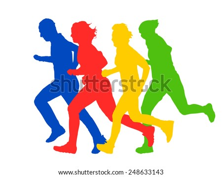 Group of runners silhouettes vector illustration