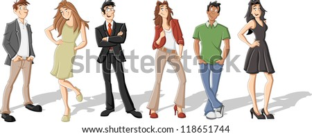 Group of six cartoon business people - stock vector