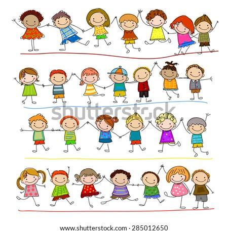 Group of sketch kids - stock vector