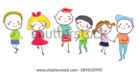 Group of sketch kids running - stock vector