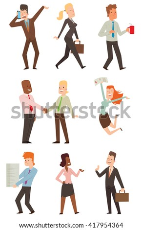 Group of smiling business people. Isolated business people. Collection of full length portraits business people and vector set business people characters. Business people team character. - stock vector