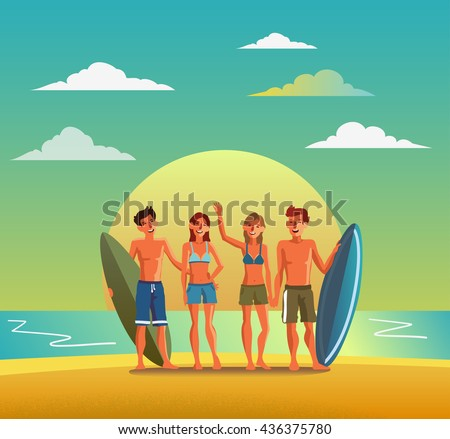 Group of smiling, happy, young friends with surfboards on beach. Travel, vacation, holidays and adventure vector concept illustration. Beach sunset background. Poster design style - stock vector