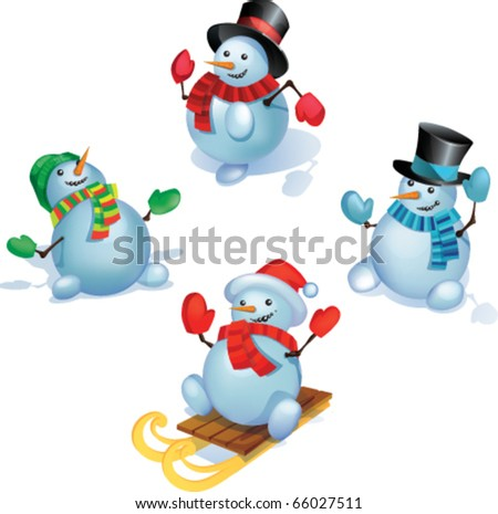 Group of snowmans in standing is different poses. Each Snowman grouped separately. eps10 files - stock vector