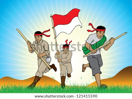 group of soldiers on the field - stock vector