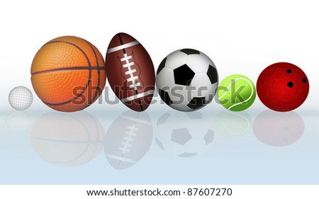 Group of sports balls with reflection, vector illustration