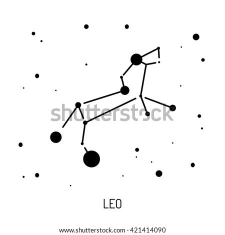 Group of stars forming a constellation. The constellation is made in a linear style - stock vector