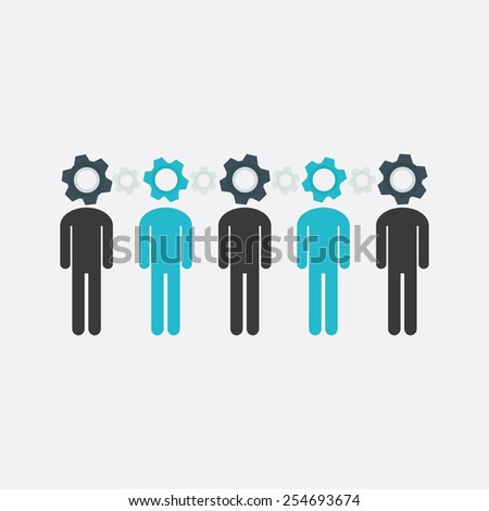 Group of stick figure people with cogs instead of their heads vector illustration. Team work and solidarity concept. - stock vector