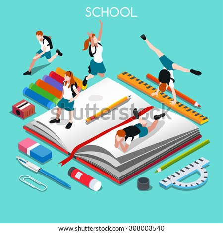 Group of Students and Stationery. 3D Flat Isometric People Students. Graduation celebration or Back to School concept. Education Infographic Homework Stationery and Kids Group Vector Image. - stock vector