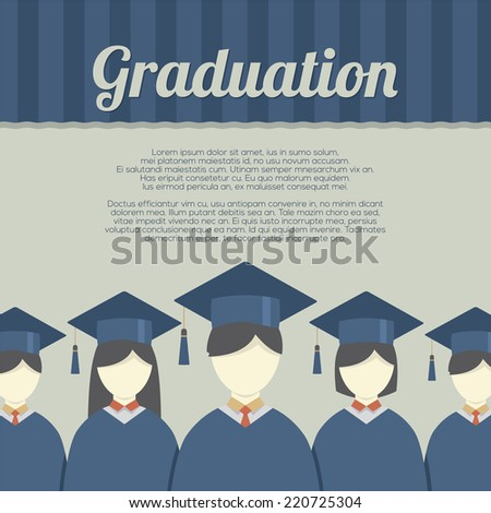 Group of Students In Graduation Gown And Mortarboard Vector Illustration - stock vector