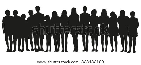 Group of teenagers silhouettes