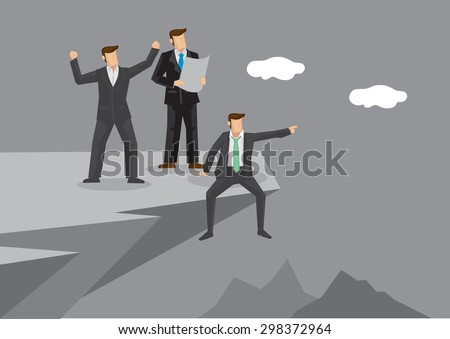 Group of three business professionals at cliff edge discussing about future development in excitement. Creative vector illustration on business vision and planning.