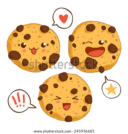 chocolate chip cookies clipart vector three kawaii cookies chocolate stock vector 862