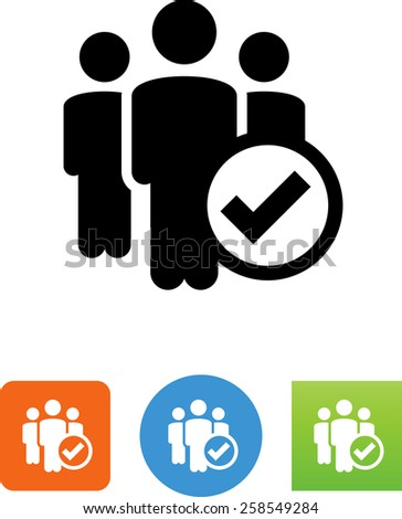Group of three people with checkmark symbol. Vector icons for video, mobile apps, Web sites and print projects.  - stock vector