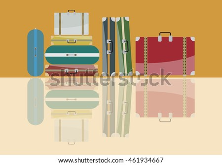 Group of Travel bags and shadows