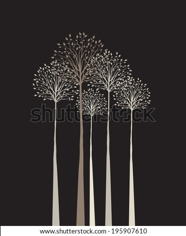Group of trees on a dark background - stock vector