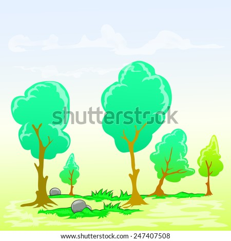 group of trees on cloudy day background  - stock vector