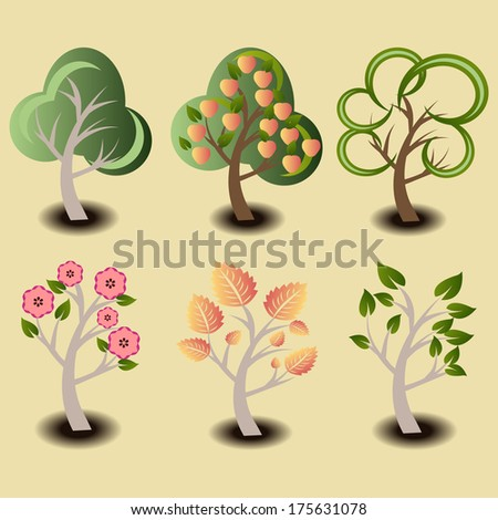 Group of trees to create your own forest. These trees are easy to edit and easily grouped