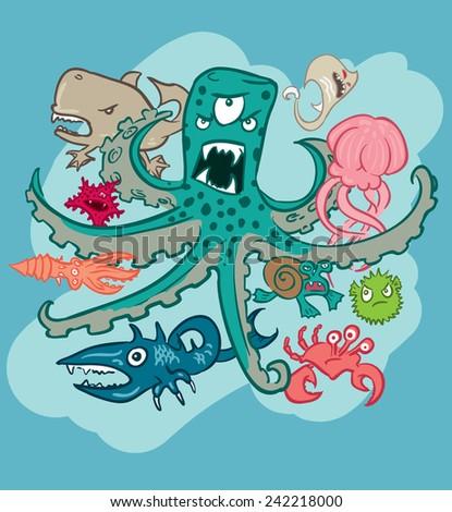 Group of underwater monsters, vector - stock vector