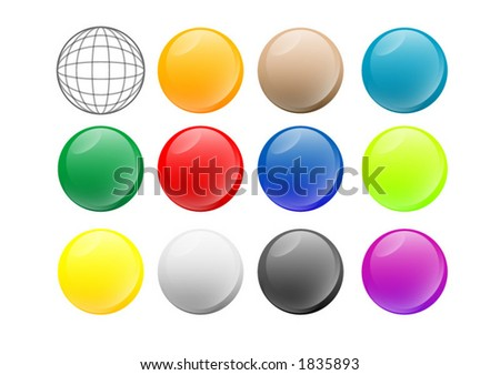 Group of vectorial orbs with glass effect. Several colors and a wireframe version.