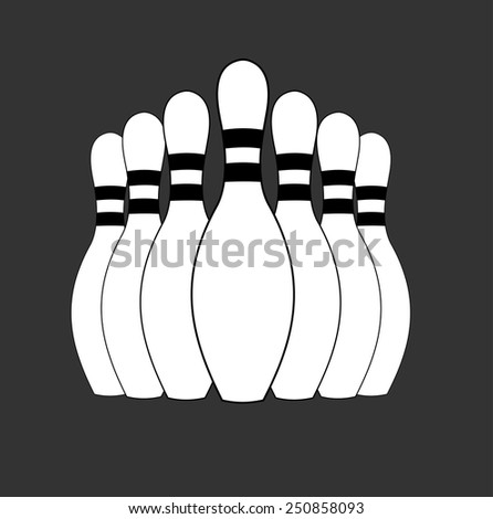 Group of white bowling pins at the end of a bowling alley, skittles. sport object concept, vector art image illustration, eps10, isolated on black background, outline