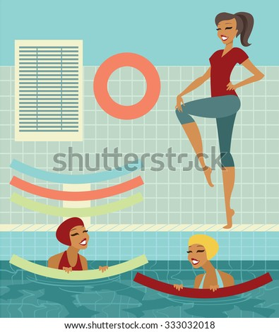 Group of women with swim noodles in a swimming pool doing exercises with instructor - stock vector