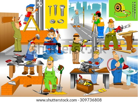 group of workers doing repairs in the house, vector - stock vector
