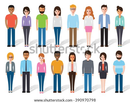 Group of working people standing on white background. Business men and business women in flat design people characters. - stock vector
