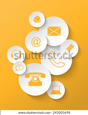 group of yellow contact icons stickers, vector illustration, eps 10 with transparency - stock vector
