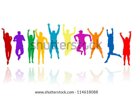 Group of young people silhouettes jumping - stock vector