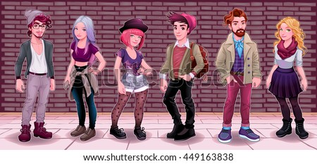 Group of young people with underground background. Fashion cartoon vector illustration.