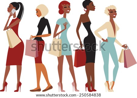 Group of young shopping girls cartoon characters - stock vector
