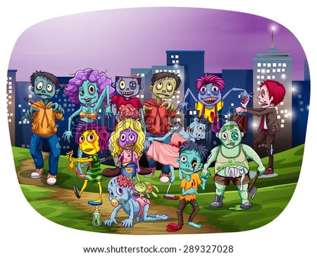 Group of zombies gathering with city buildings on the background - stock vector