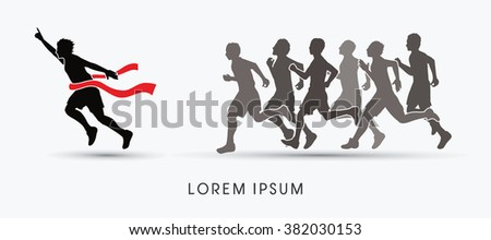 Group or runners, the winner graphic vector.