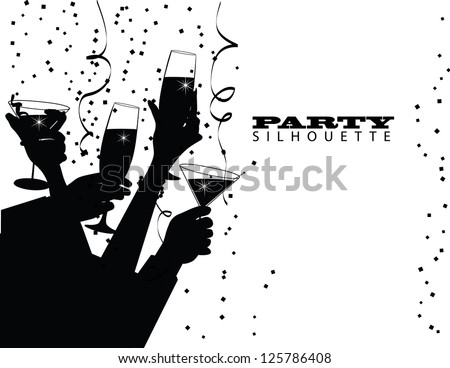 Group Party Toast Silhouette EPS 8 vector no open shapes or paths. - stock vector