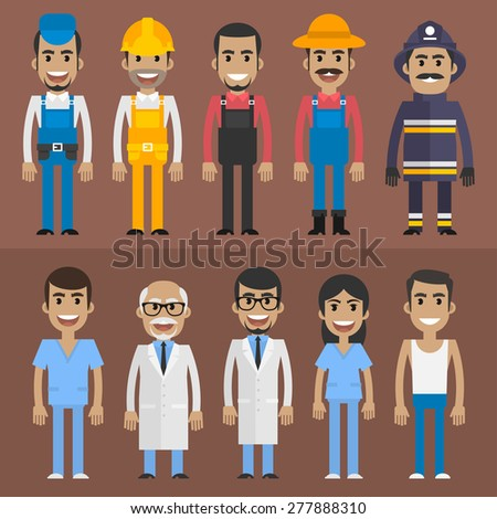 Group people builder doctor nurse fireman farmer - stock vector