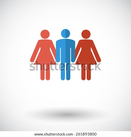 Group sex. Single flat icon on white background. Vector illustration. - stock vector