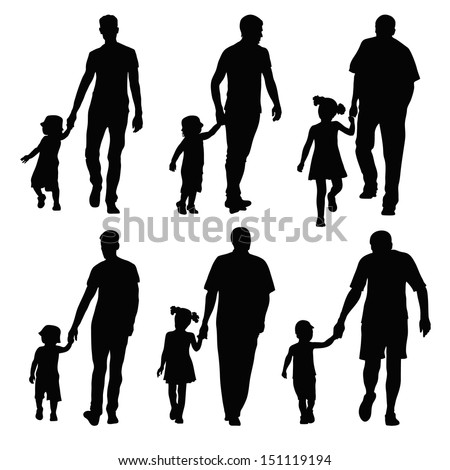 group silhouettes dads and children - stock vector