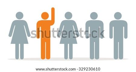 Group with one person hands up - stock vector