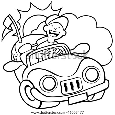 Grouped cloud, sun and convertible of man driving his car on a sunny day.