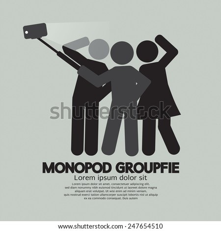 Groupfie Symbol, A Group Selfie Using Monopod Vector Illustration - stock vector