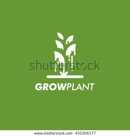 Grow Plant Logo Design Template. Vector illustration