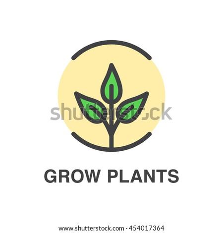 Grow plants vector colored icon. Ecology concept. - stock vector
