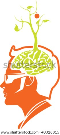 Grow Tree from your brain - stock vector